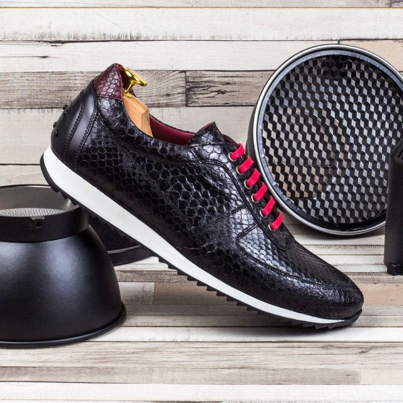 Custom Made Men's Corsini Jogger in Black and Red Genuine Python with Black Painted Calf Leather
