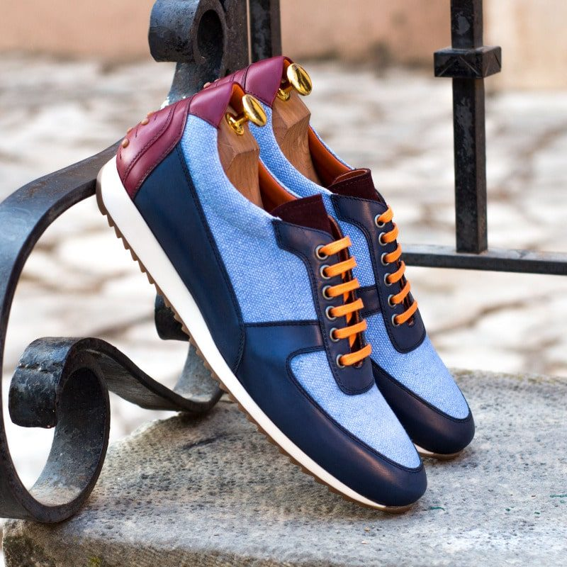Custom Made Men's Corsini Jogger in Blue Linen and Navy Blue Box Calf with Burgundy Box Calf and Luxe Suede