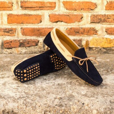 Custom Made Men's Driving Loafer in Navy Blue and Camel Suede