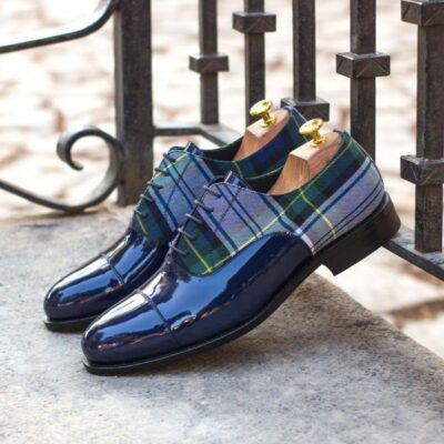 Custom Made Men's Goodyear Welt Oxford in Cobalt Blue Patent Leather and Plaid