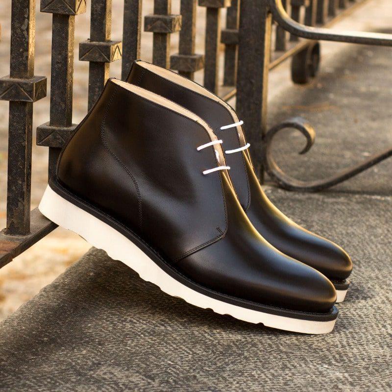 Custom Made Men's Goodyear Welted Chukka Boots in Black Box Calf