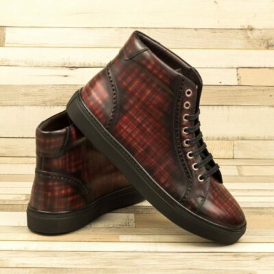 Custom Made Men's High Kick in Italian Calf Leather with a Burgundy Hand Patina Finish