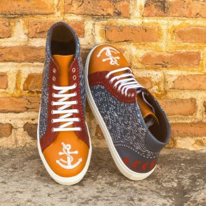 Custom Made Men's High Kick in Navy Blue Painted Calf, Cognac Full Grain Leather and Red Pebble Grain Leather with Stencil Art