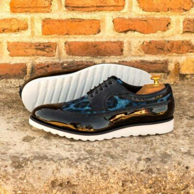 Custom Made Men's Longwing Blucher in Black Patent Leather and Blue Leopard Print