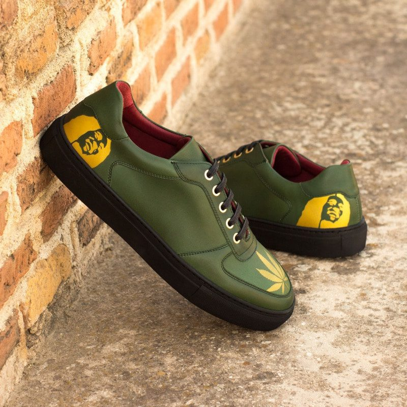 Custom Made Men's Low Top Trainer in Forest Green Painted Calf with Stencil Art