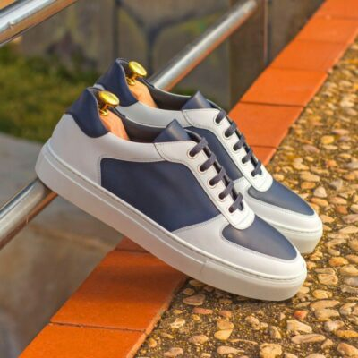 Custom Made Men's Low Top Trainer in Navy Blue and White Box Calf Leather