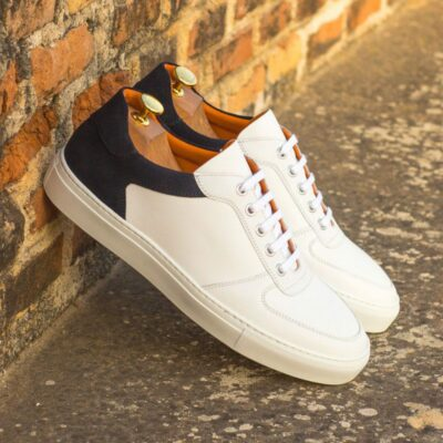 Custom Made Men's Low Top Trainer in White Box Calf and Navy Blue Luxe Suede