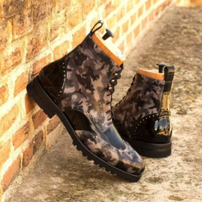 Custom Made Men's Military Brogue Boot in Italian Calf Leather with a Grey Camo Hand Patina and Black Patent Leather
