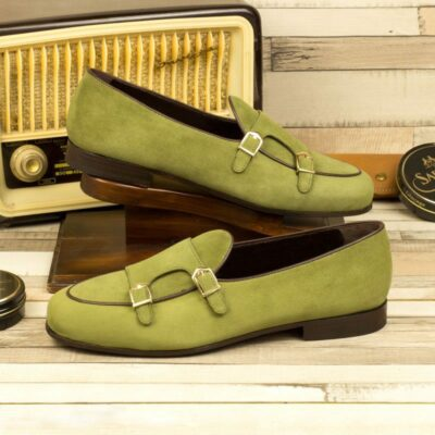 Custom Made Men's Monk Slipper in Khaki Suede with Dark Brown Painted Calf