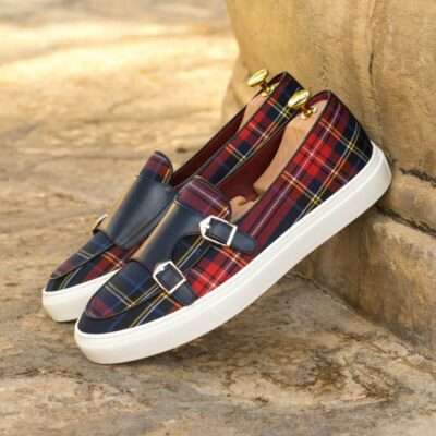 Custom Made Men's Monk Sneaker in Tartan with Navy Blue Painted Calf Leather