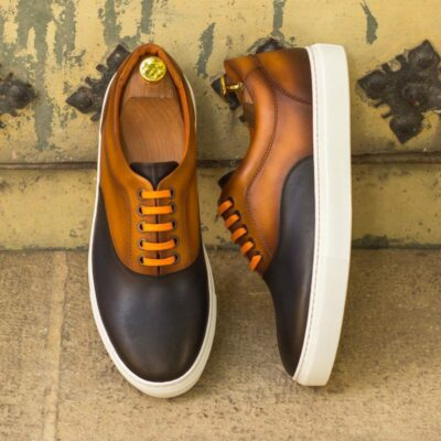 Custom Made Men's Top Sider in Burnished Cognac and Navy Blue Painted Calf Leather