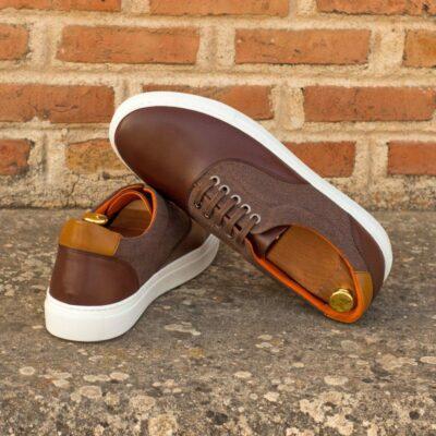 Custom Made Men's Top Sider in Dark Brown Box Calf with Brown Linen and Cognac Box Calf