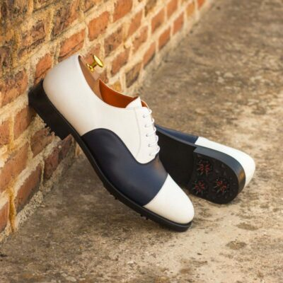 Custom Made Oxford Golf Shoes in White and Navy Blue Box Calf Leather