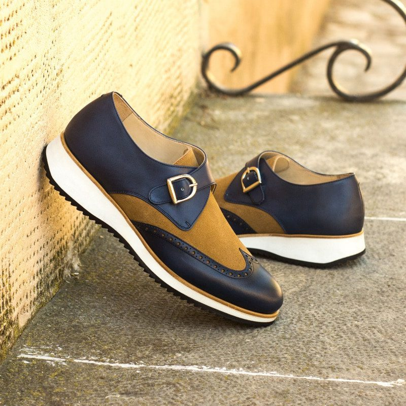 Custom Made Single Monks in Navy Blue Painted Calf and Camel Luxe Suede