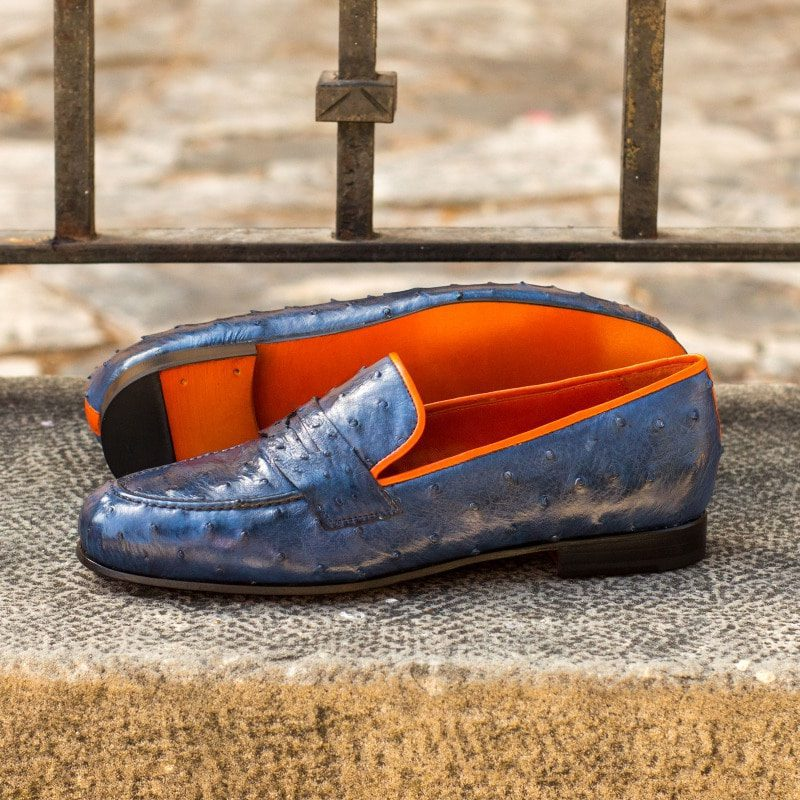 Custom Made Wellington Slippers in Navy Blue Ostrich