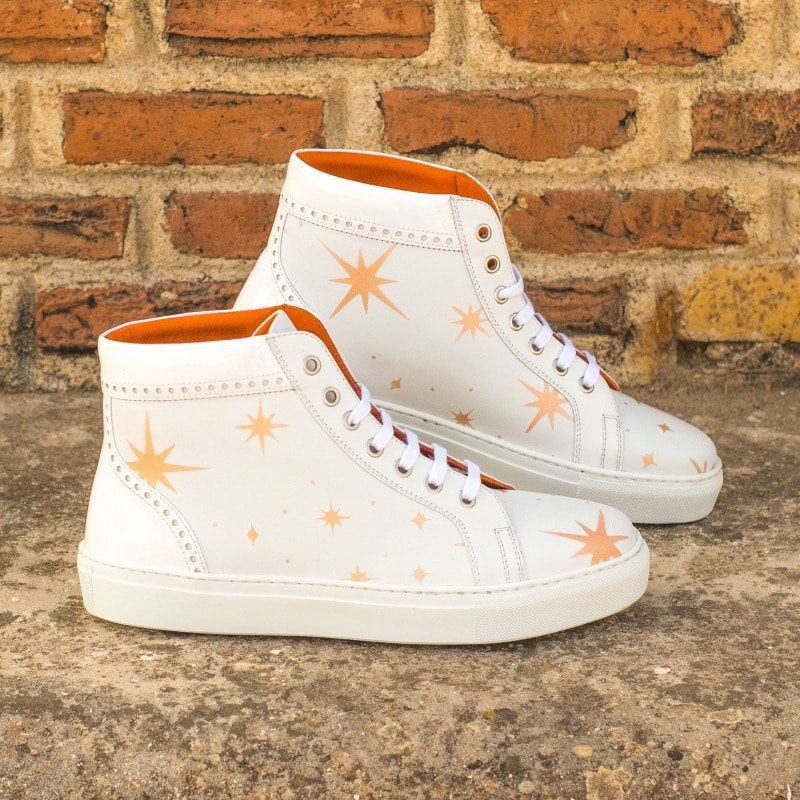 Custom Made Women's High Top in White Box Calf with White Patent Leather and Stencil Art