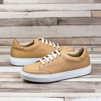 Custom Made Women's Tennis Shoe in Fawn Pebble Grain Leather