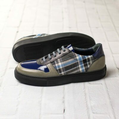 Custom Made Women's Trainer in Black and Grey Painted Full Grain Leather with Plaid and Cobalt Blue Patent Leather