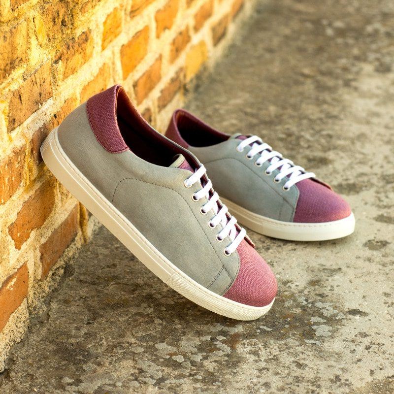 Custom Made Cupsole Trainers in Light Grey Kid Suede and Plum Linen