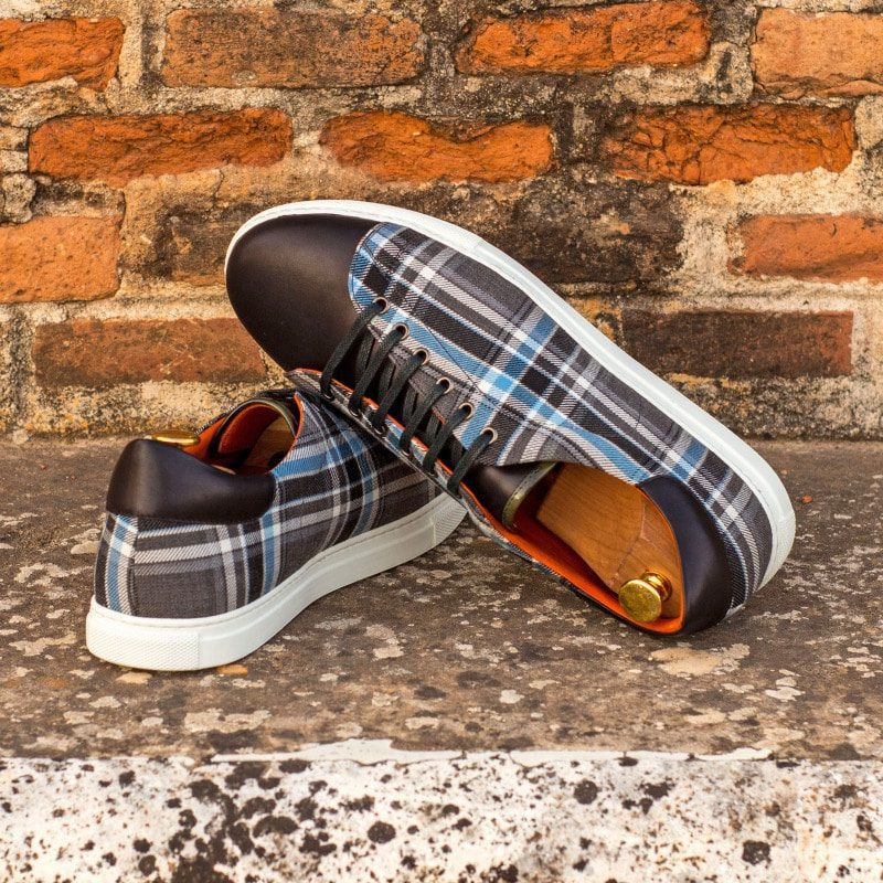 Custom Made Cupsole Trainers in Plaid with Black Painted Calf Leather