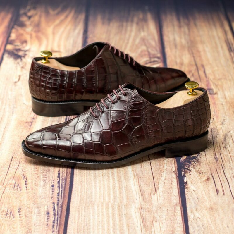 Custom Made Goodyear Welted Whole Cut Dress Shoes in Burgundy Genuine Alligator