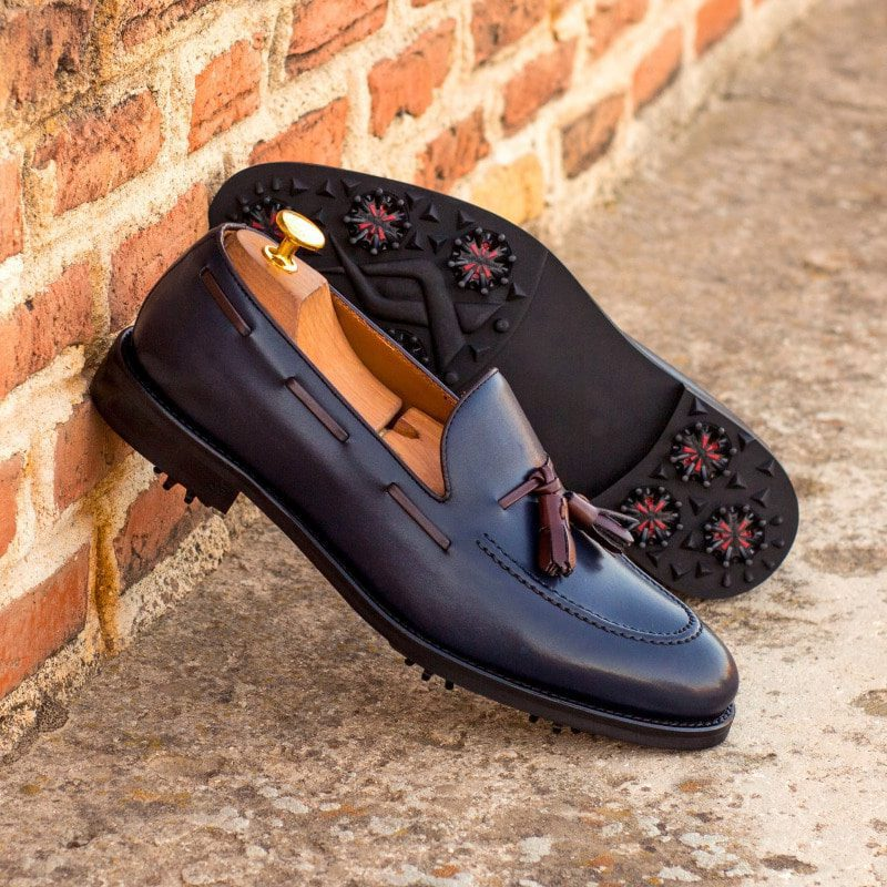 Custom Made Loafer Golf Shoes in Navy Blue and Dark Brown Box Calf Leather with Softspikes®