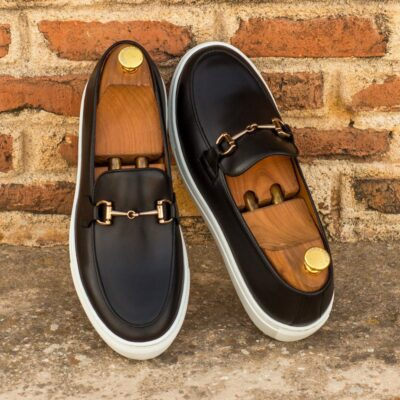 Custom Made Men's Belgian Sneaker in Black Box Calf Leather
