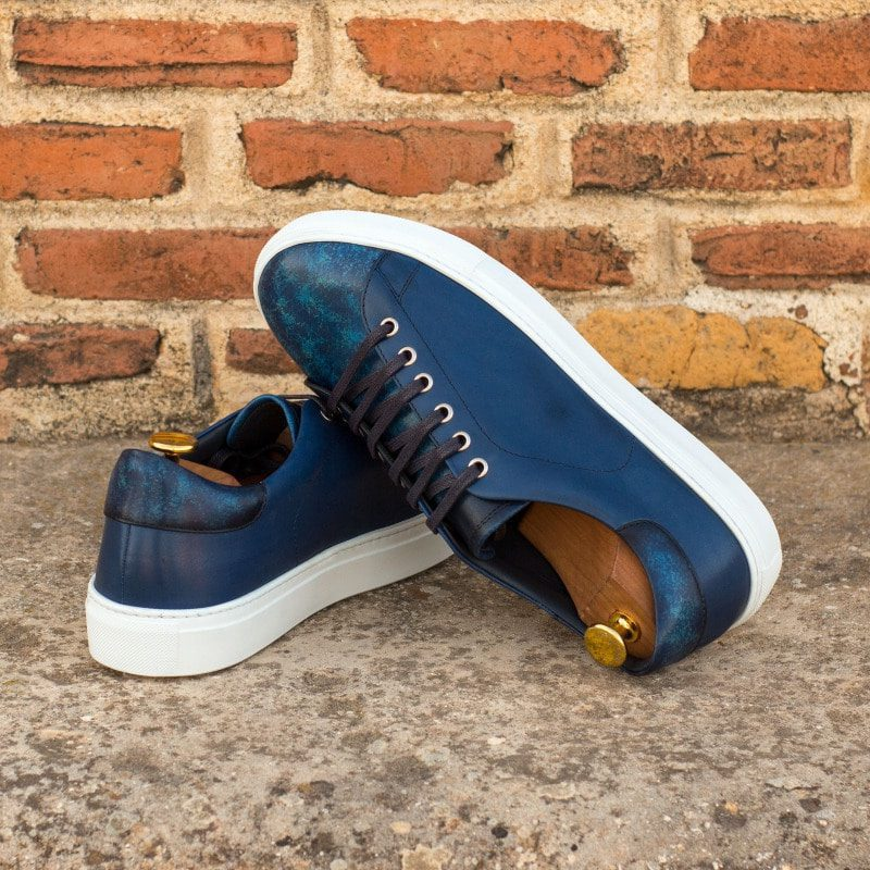 Custom Made Men's Cupsole Trainers in Italian Calf Leather with a Denim Blue Hand Patina Finish and Navy Blue Painted Calf