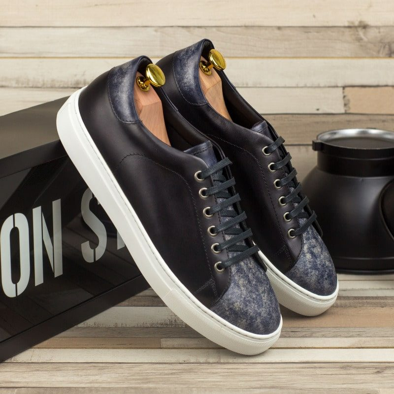 Custom Made Men's Cupsole Trainers in Italian Calf Leather with a Grey Hand Patina Finish and Black Painted Calf
