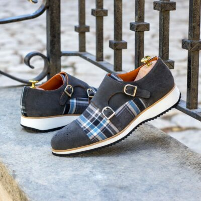 Custom Made Men's Double Monks in Grey Luxe Suede and Plaid