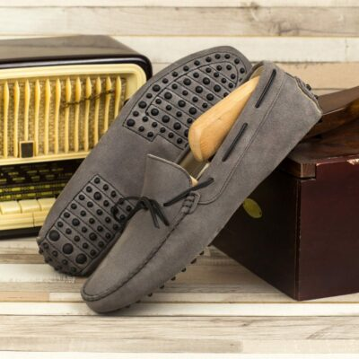 Custom Made Men's Driving Loafer in Grey and Black Suede