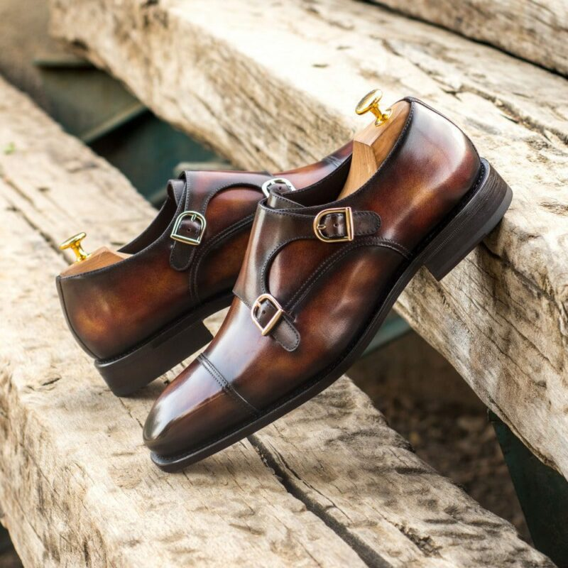 Custom Made Men's Goodyear Welt Double Monks in Italian Calf Leather with a Fire Museum Hand Patina Finish