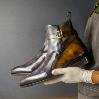 Custom Made Men's Goodyear Welt Jodhpur Boot in Italian Calf Leather with a Aubergine and Tobacco Museum Hand Patina Finish