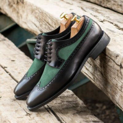 Custom Made Men's Goodyear Welt Longwing Blucher in Black Painted Calf Leather and Forest Green Kid Suede