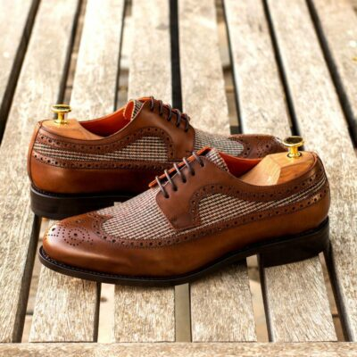 Custom Made Men's Goodyear Welt Longwing Blucher in Medium Brown Painted Calf Leather and Tweed