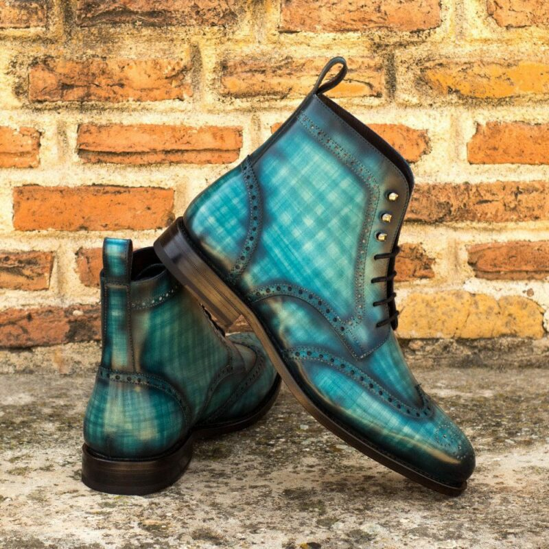 Custom Made Men's Goodyear Welt Military Brogue Boot in Italian Calf Leather with a Turquoise Hand Patina
