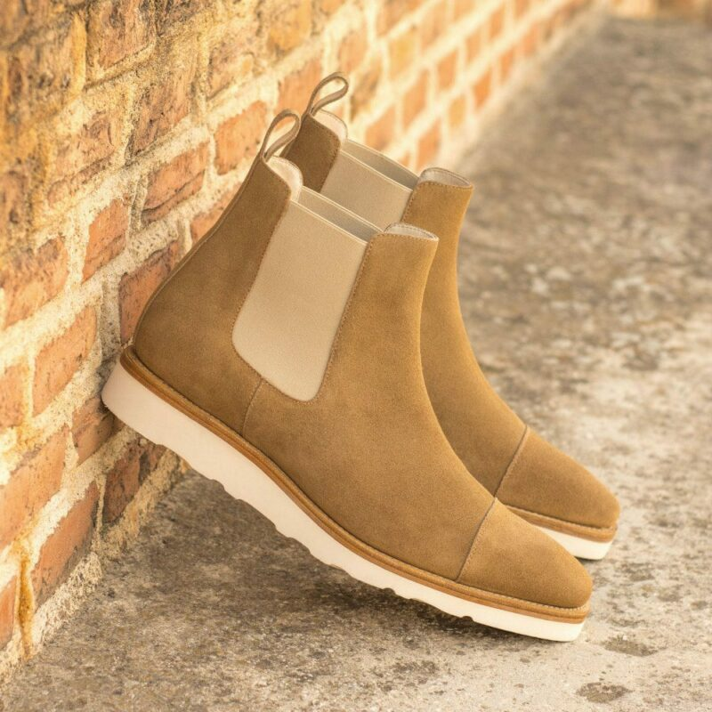 Custom Made Men's Goodyear Welted Chelsea Boot Classic in Camel Luxe Suede