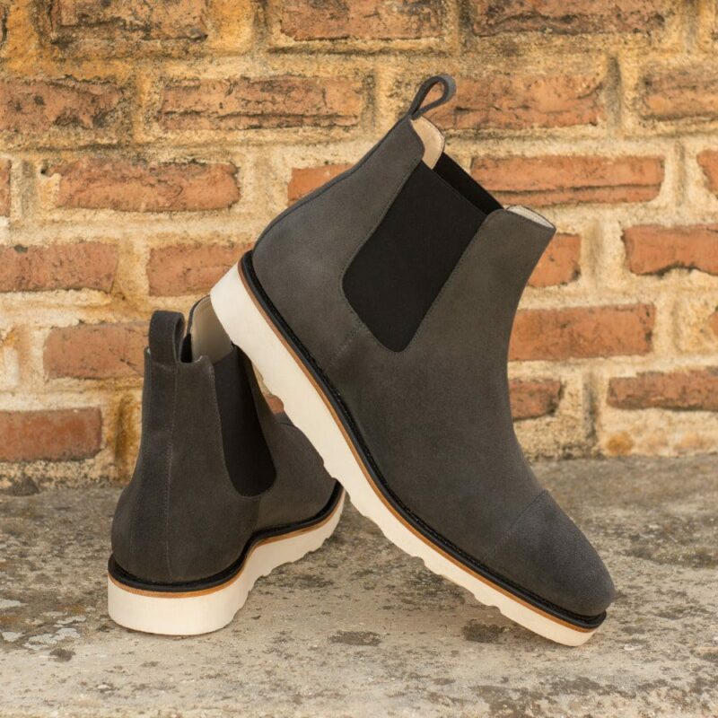 Custom Made Men's Goodyear Welted Chelsea Boot Classic in Grey Luxe Suede