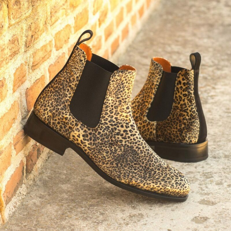 Custom Made Men's Goodyear Welted Chelsea Boot Classic in Leopard Print Flannel with Black Luxe Suede
