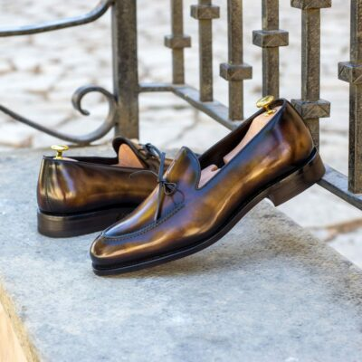 Custom Made Men's Goodyear Welted Loafers in Italian Calf Leather with a Tobacco Museum Hand Patina