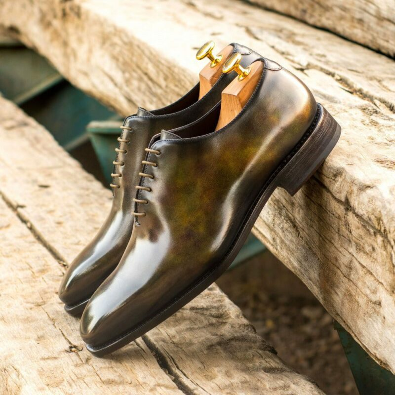Custom Made Men's Goodyear Welted Whole Cut Dress Shoes in Italian Calf Leather with a Green Museum Hand Patina