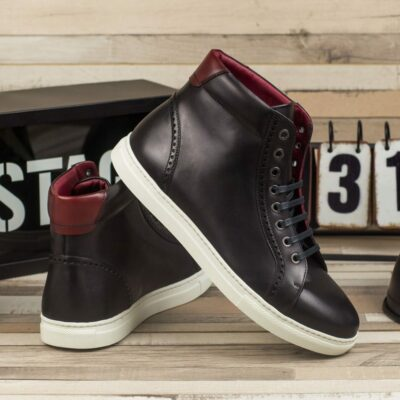 Custom Made Men's High Kick in Black and Red Painted Calf Leather