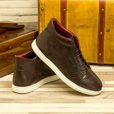 Custom Made Men's High Top in Dark Brown and Burgundy Genuine Python