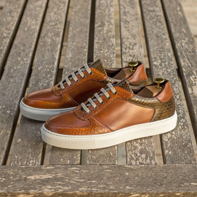 Custom Made Men's Low Top Trainer in Medium Brown Box Calf with Olive and Cognac Genuine Python