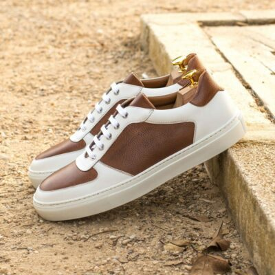 Custom Made Men's Low Top Trainer in Medium Brown Painted Full Grain Leather with White Box Calf