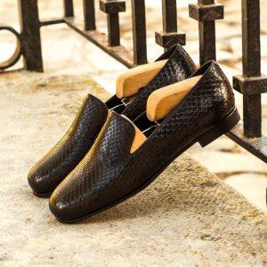 Custom Made Wellington Slippers in Black Genuine Python