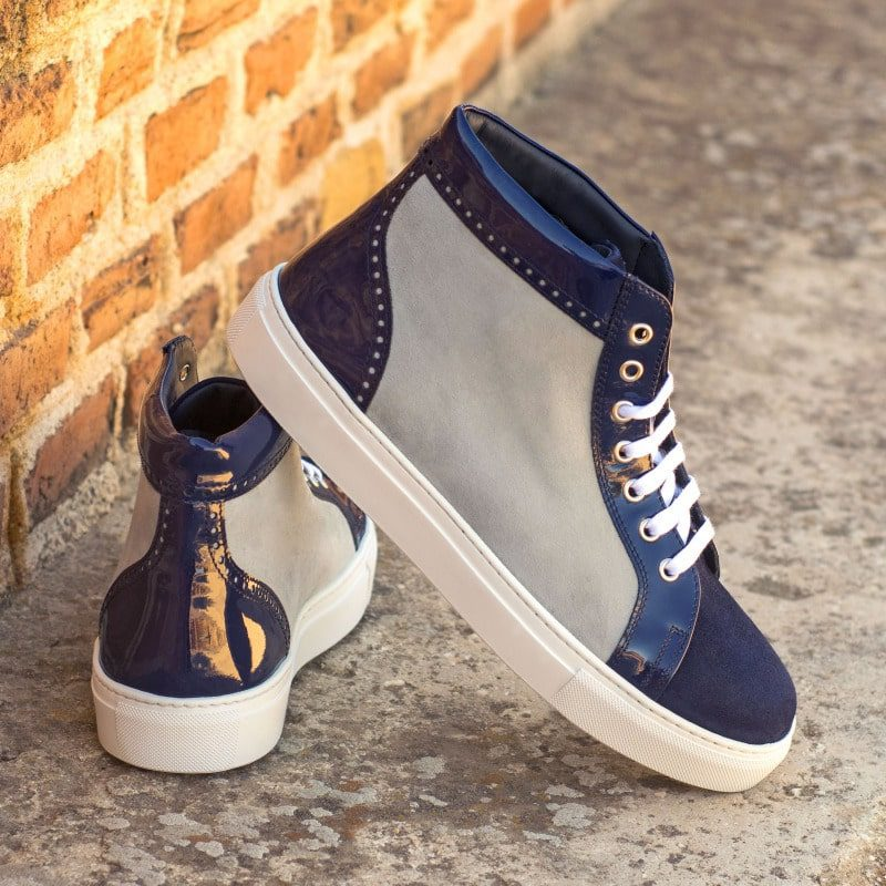 Custom Made Women's High Top in Light Grey and Navy Blue Kid Suede with Cobalt Blue Patent Leather