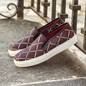 Custom Made Women's Slip On in Burgundy and Black Painted Calf Leather with Stencil Art