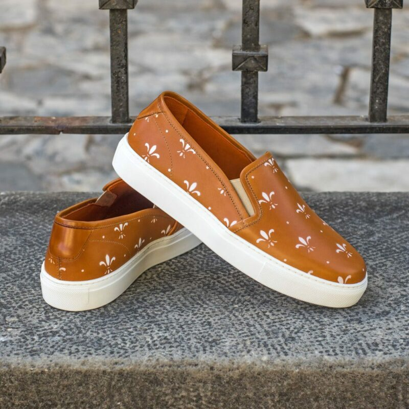 Custom Made Women's Slip On in Cognac Painted Calf Leather with Stencil Art