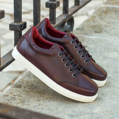 Custom Made Women's Tennis Shoe in Burgundy Painted Calf Leather